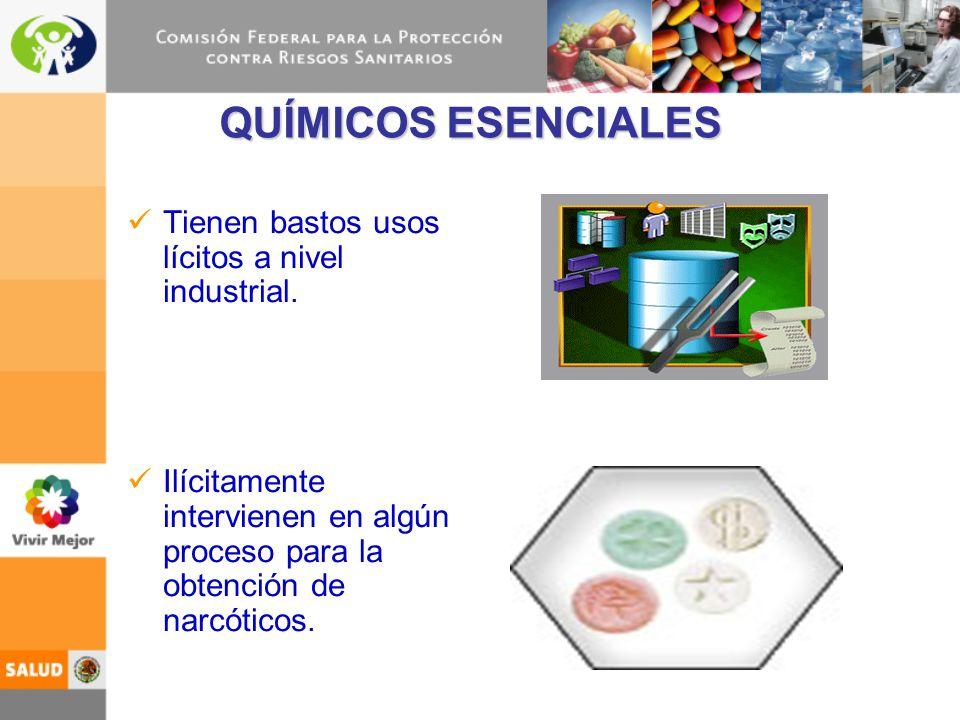 QUÍMICOS ESENCIALES Tienen bastos usos lícitos a nivel industrial. Ilícitamente intervienen en algún proceso para la obtención de narcóticos.