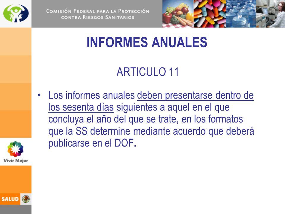 ARTICULO 11 Los informes anuales deben presentarse dentro de los sesenta días siguientes a aquel en el que concluya el año del que se trate, en los fo