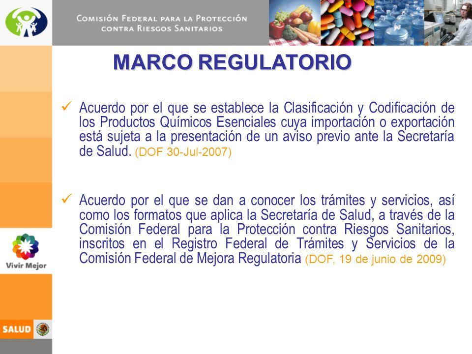 Acuerdo por el que se establece la Clasificación y Codificación de los Productos Químicos Esenciales cuya importación o exportación está sujeta a la p