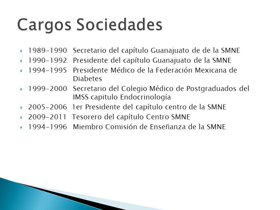 1989-1990 Secretario del capítulo Guanajuato de de la SMNE 1990-1992 Presidente del capítulo Guanajuato de la SMNE 1994-1995 Presidente Médico de la F
