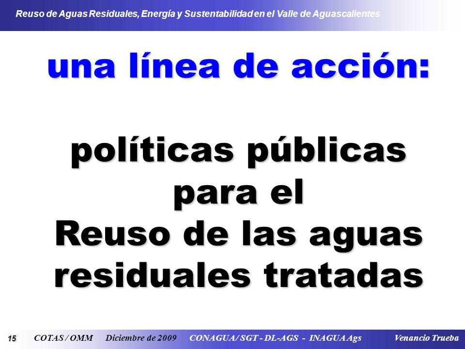 15 Reuso de Aguas Residuales, Energía y Sustentabilidad en el Valle de Aguascalientes COTAS / OMM Diciembre de 2009 CONAGUA / SGT - DL-AGS - INAGUA Ags Venancio Trueba una línea de acción: políticas públicas para el Reuso de las aguas residuales tratadas