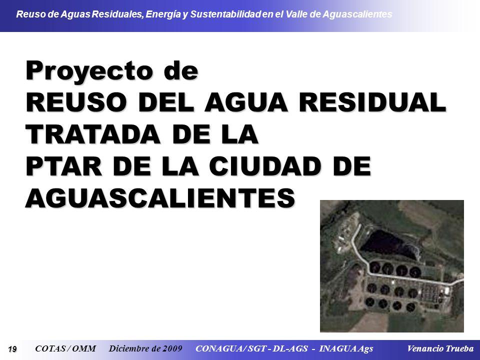 19 Reuso de Aguas Residuales, Energía y Sustentabilidad en el Valle de Aguascalientes COTAS / OMM Diciembre de 2009 CONAGUA / SGT - DL-AGS - INAGUA Ag