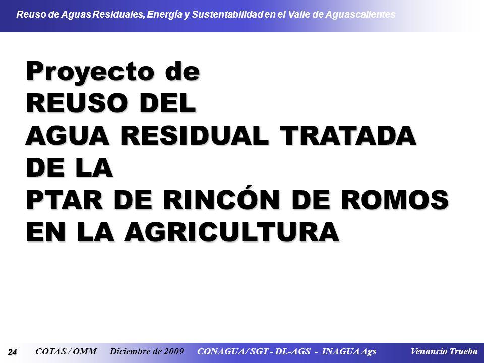 24 Reuso de Aguas Residuales, Energía y Sustentabilidad en el Valle de Aguascalientes COTAS / OMM Diciembre de 2009 CONAGUA / SGT - DL-AGS - INAGUA Ag