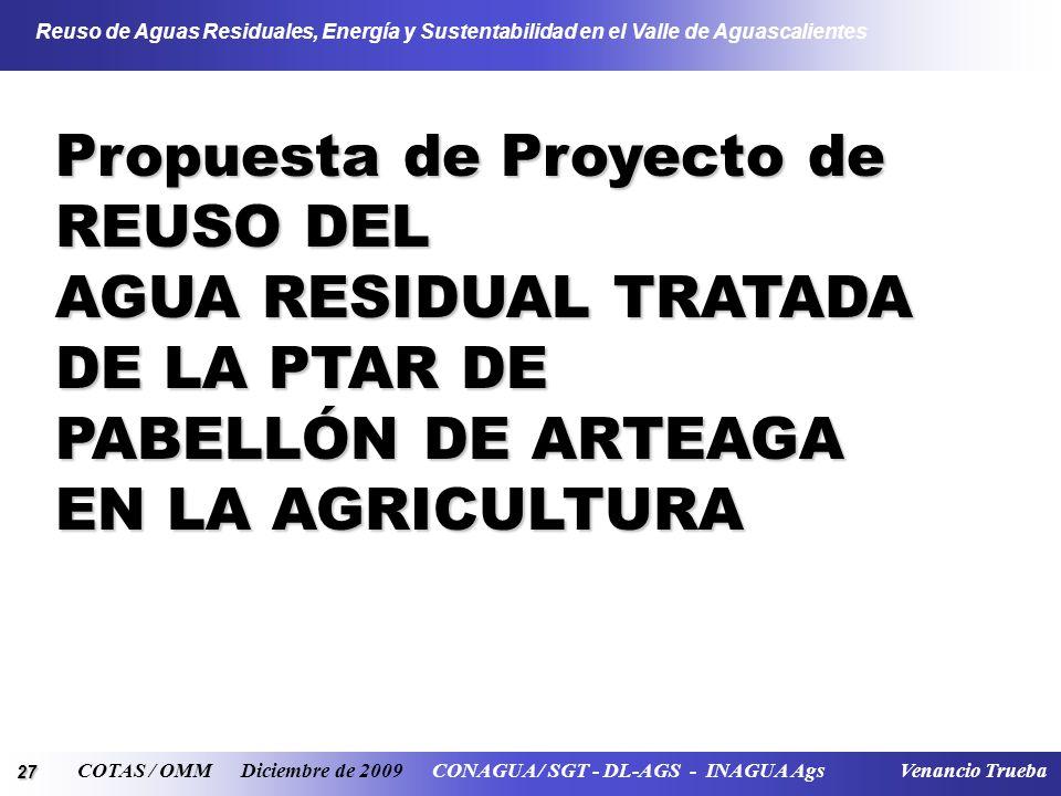 27 Reuso de Aguas Residuales, Energía y Sustentabilidad en el Valle de Aguascalientes COTAS / OMM Diciembre de 2009 CONAGUA / SGT - DL-AGS - INAGUA Ags Venancio Trueba Propuesta de Proyecto de REUSO DEL AGUA RESIDUAL TRATADA DE LA PTAR DE PABELLÓN DE ARTEAGA EN LA AGRICULTURA
