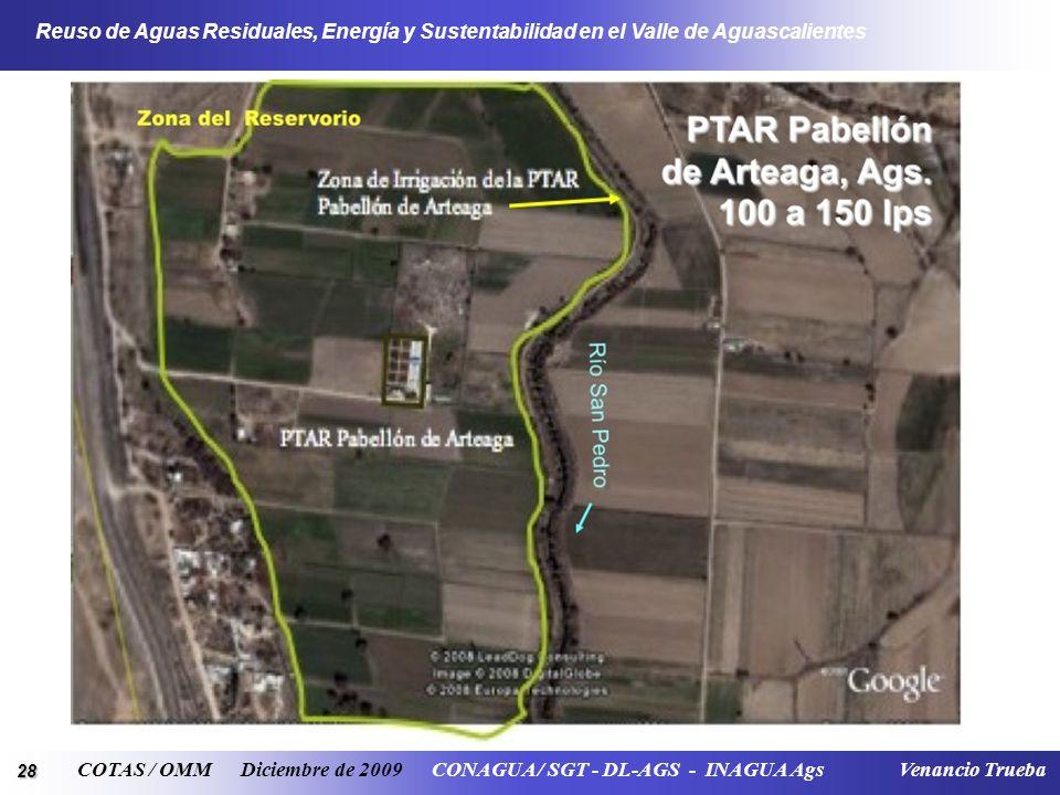 28 Reuso de Aguas Residuales, Energía y Sustentabilidad en el Valle de Aguascalientes COTAS / OMM Diciembre de 2009 CONAGUA / SGT - DL-AGS - INAGUA Ag