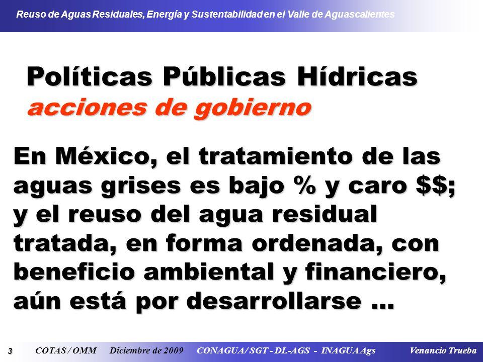 14 Reuso de Aguas Residuales, Energía y Sustentabilidad en el Valle de Aguascalientes COTAS / OMM Diciembre de 2009 CONAGUA / SGT - DL-AGS - INAGUA Ags Venancio Trueba