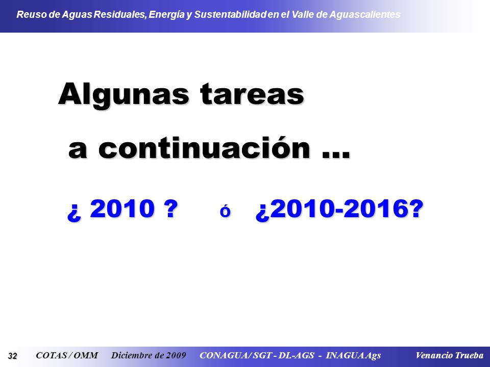 32 Reuso de Aguas Residuales, Energía y Sustentabilidad en el Valle de Aguascalientes COTAS / OMM Diciembre de 2009 CONAGUA / SGT - DL-AGS - INAGUA Ag