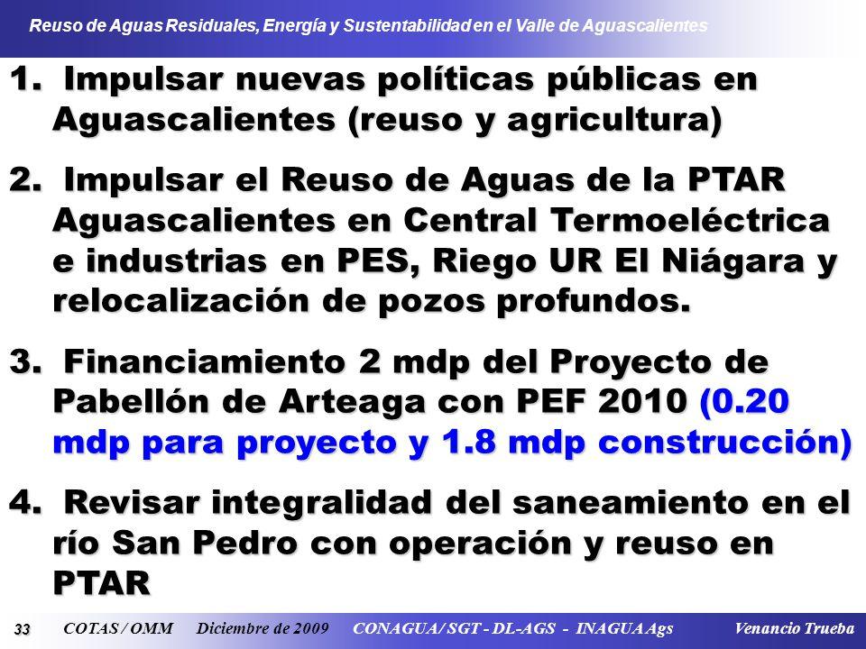 33 Reuso de Aguas Residuales, Energía y Sustentabilidad en el Valle de Aguascalientes COTAS / OMM Diciembre de 2009 CONAGUA / SGT - DL-AGS - INAGUA Ag