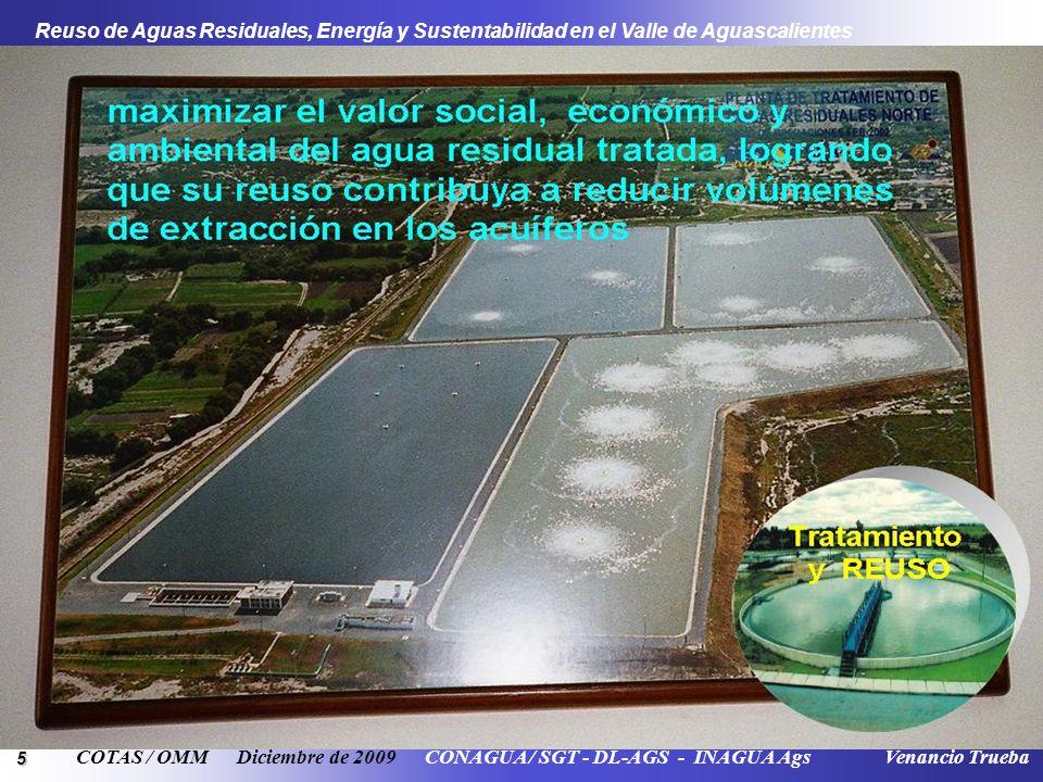 5 Reuso de Aguas Residuales, Energía y Sustentabilidad en el Valle de Aguascalientes COTAS / OMM Diciembre de 2009 CONAGUA / SGT - DL-AGS - INAGUA Ags Venancio Trueba