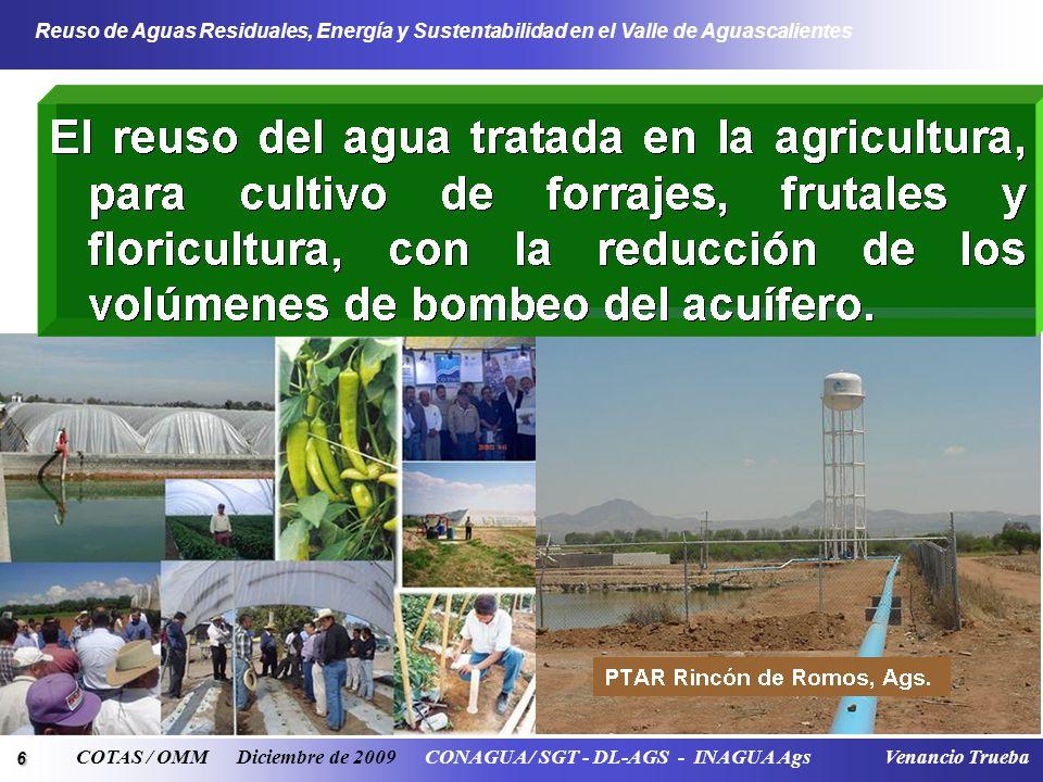 6 Reuso de Aguas Residuales, Energía y Sustentabilidad en el Valle de Aguascalientes COTAS / OMM Diciembre de 2009 CONAGUA / SGT - DL-AGS - INAGUA Ags
