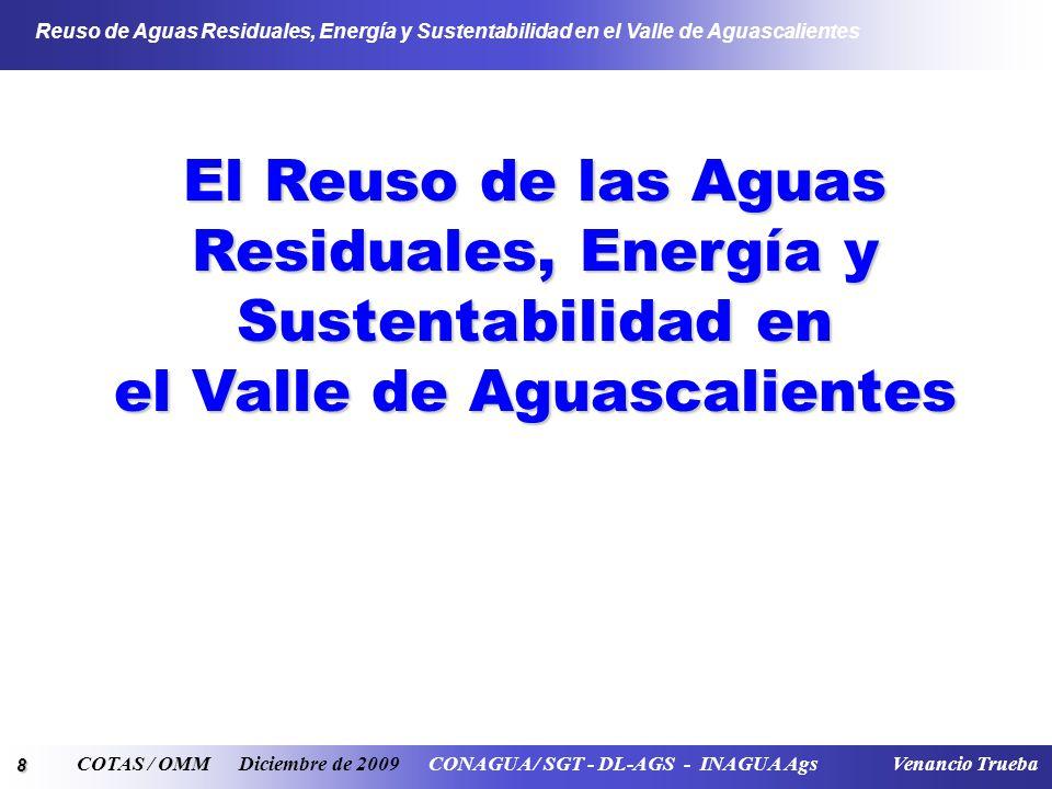 19 Reuso de Aguas Residuales, Energía y Sustentabilidad en el Valle de Aguascalientes COTAS / OMM Diciembre de 2009 CONAGUA / SGT - DL-AGS - INAGUA Ags Venancio Trueba Proyecto de REUSO DEL AGUA RESIDUAL TRATADA DE LA PTAR DE LA CIUDAD DE AGUASCALIENTES
