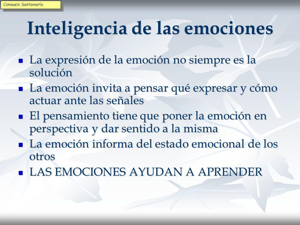 Inteligencia de las emociones Las emociones amplían la inteligencia Las emociones amplían la inteligencia La emoción informa La emoción informa La emoción prepara para la acción La emoción prepara para la acción La emoción vigila el estado relacional La emoción vigila el estado relacional La emoción evalúa si las cosas salen como esperamos La emoción evalúa si las cosas salen como esperamos La emoción actúa como señal para otras personas La emoción actúa como señal para otras personas Consuelo Santamaría