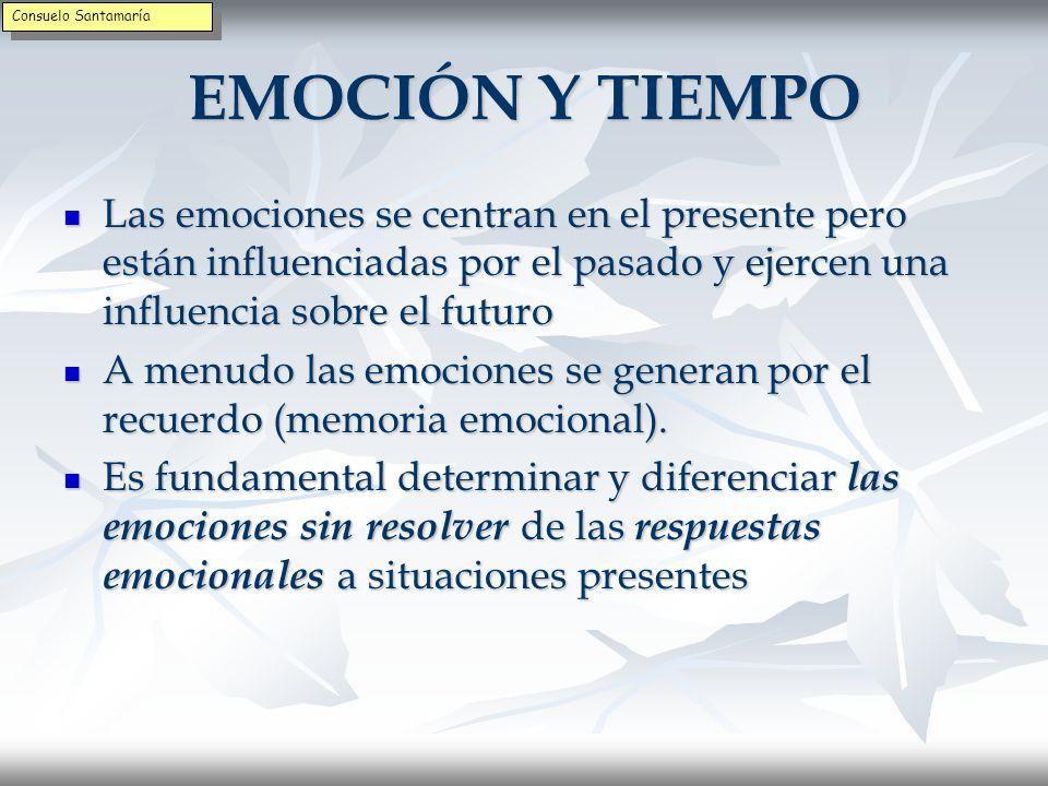 Inteligencia de las emociones La expresión de la emoción no siempre es la solución La expresión de la emoción no siempre es la solución La emoción invita a pensar qué expresar y cómo actuar ante las señales La emoción invita a pensar qué expresar y cómo actuar ante las señales El pensamiento tiene que poner la emoción en perspectiva y dar sentido a la misma El pensamiento tiene que poner la emoción en perspectiva y dar sentido a la misma La emoción informa del estado emocional de los otros La emoción informa del estado emocional de los otros LAS EMOCIONES AYUDAN A APRENDER LAS EMOCIONES AYUDAN A APRENDER Consuelo Santamaría