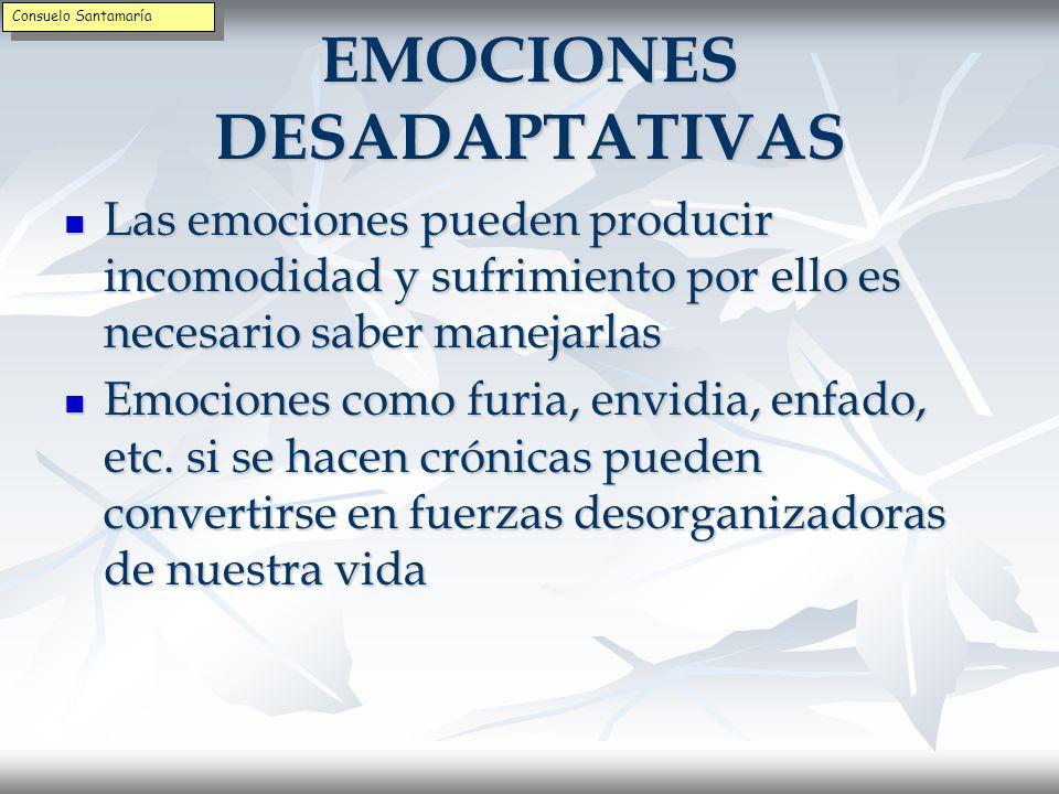 EMOCIÓN Y PENSAMIENTO La emoción, en sí misma, es una combinación de sentimientos corporales y pensamientos procesamiento mental (dolor de estómago unido al pensamiento de un trato injusto) La emoción, en sí misma, es una combinación de sentimientos corporales y pensamientos procesamiento mental (dolor de estómago unido al pensamiento de un trato injusto) La unión de sensaciones corporales, pensamientos mentales e imágenes es la emoción La unión de sensaciones corporales, pensamientos mentales e imágenes es la emoción Consuelo Santamaría