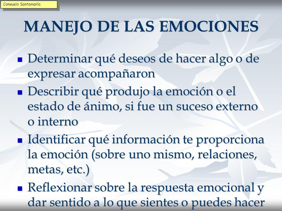 MANEJO DE LAS EMOCIONES Dar nombre a la emoción Dar nombre a la emoción Determinar qué emoción aparece con frecuencia y dura más Determinar qué emoción aparece con frecuencia y dura más Ser consciente de las sensaciones corporales que acompañan a la emoción Ser consciente de las sensaciones corporales que acompañan a la emoción Identificar los pensamientos que las acompañan y saber si se refieren al presente, pasado y futuro Identificar los pensamientos que las acompañan y saber si se refieren al presente, pasado y futuro Consuelo Santamaría