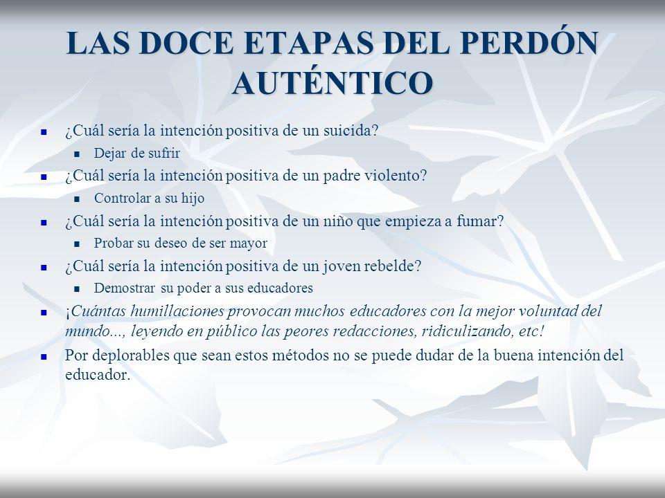 LAS DOCE ETAPAS DEL PERDÓN AUTÉNTICO COMPRENDER AL OFENSOR IMPLICA DEJAR DE CONDENARLO.