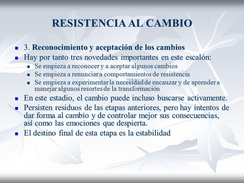 RESISTENCIA AL CAMBIO 3.Reconocimiento y aceptación de los cambios 3.