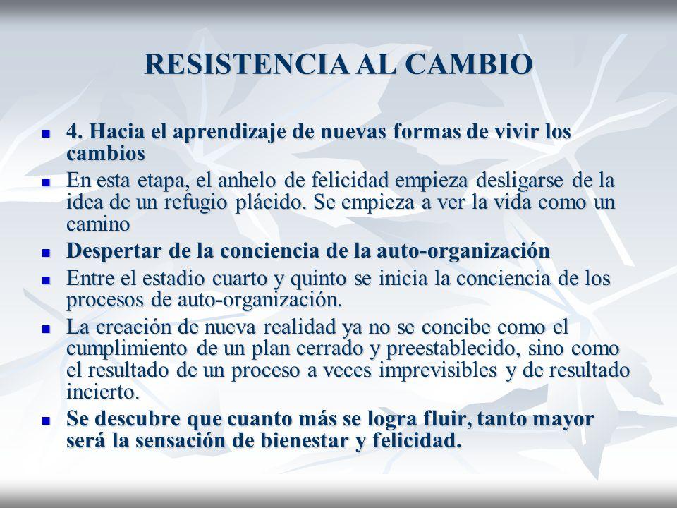 RESISTENCIA AL CAMBIO 4.Hacia el aprendizaje de nuevas formas de vivir los cambios 4.
