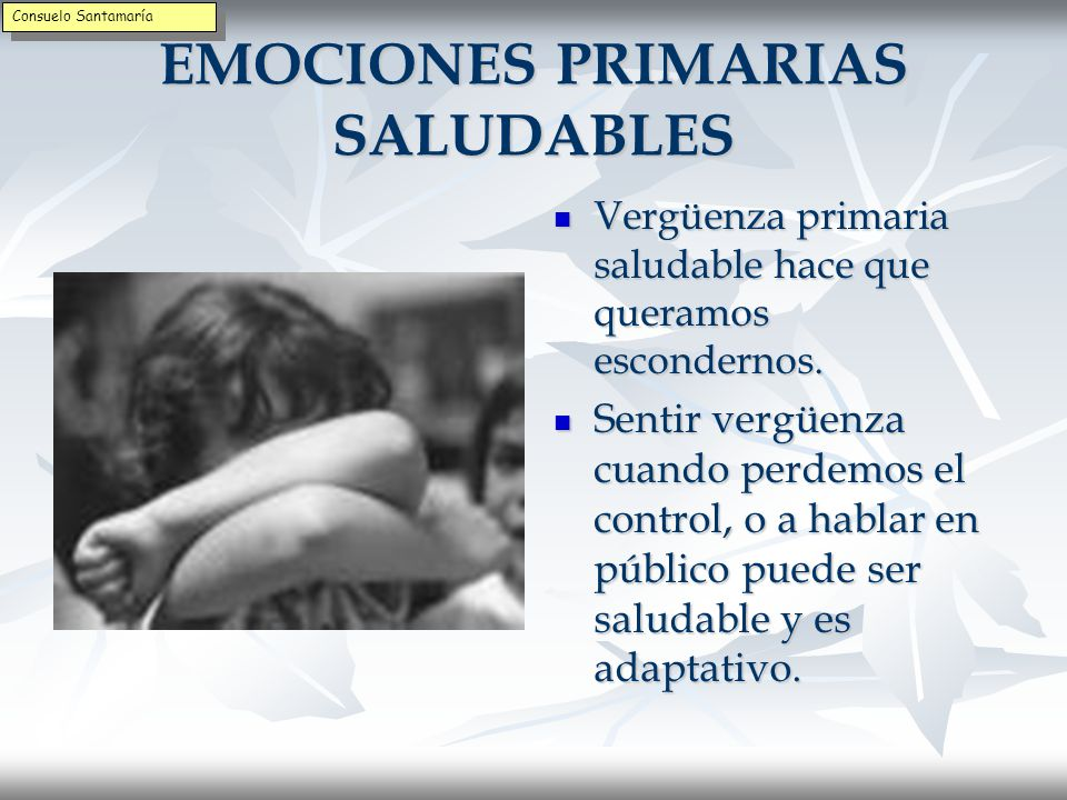 EMOCIONES PRIMARIAS NO SALUDABLES El miedo primario no saludable mantiene los recuerdos pasados y se traducen en pesadillas.