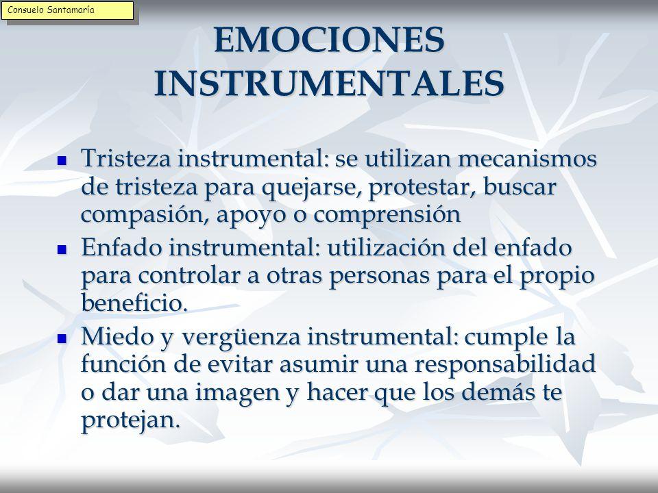 EMOCIONES INSTRUMENTALES Son las emociones que se expresan porque se ha aprendido esperando una determinada reacción.