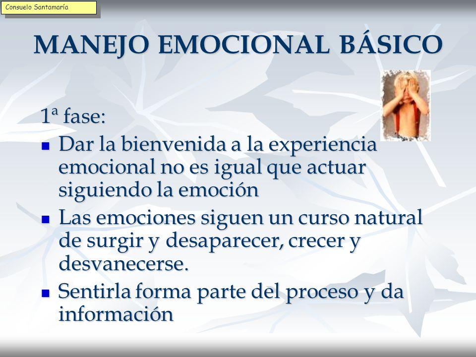 MANEJO EMOCIONAL BÁSICO 1ª fase: Ser consciente de las emociones Ser consciente de las emociones Prestar atención a las emociones y ser consciente de los pensamientos y sentimientos que acompañan Prestar atención a las emociones y ser consciente de los pensamientos y sentimientos que acompañan Estar atento al lenguaje interno Estar atento al lenguaje interno Consuelo Santamaría