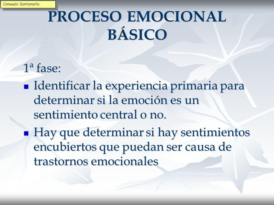 PROCESO EMOCIONAL BÁSICO 1ª fase: Describir las emociones con palabras Describir las emociones con palabras Hay que hablar de la emoción y no actuar según la emoción.