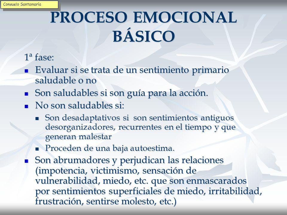 PROCESO EMOCIONAL BÁSICO 1ª fase: Identificar la experiencia primaria para determinar si la emoción es un sentimiento central o no.