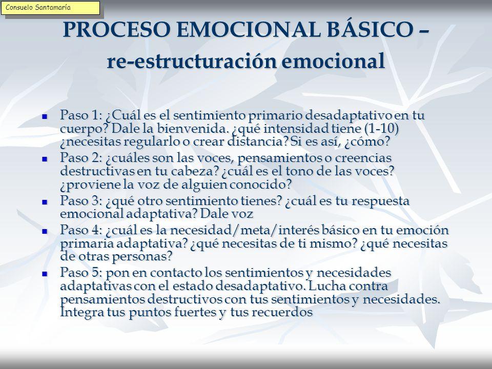 PROCESO EMOCIONAL BÁSICO 2ª fase: Transformar la emoción desadaptativa y los pensamientos destructivos.