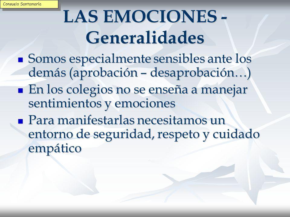 LAS EMOCIONES - Generalidades Son movilizadores centrales de la vida Son movilizadores centrales de la vida La emoción moviliza y la razón guía La emoción moviliza y la razón guía Hay una separación entre la razón y la emoción Hay una separación entre la razón y la emoción Existe un diálogo interno y personal que puede ser agotador (eres un…) Existe un diálogo interno y personal que puede ser agotador (eres un…) Hay que sanar la división entre lo racional y lo emocional Hay que sanar la división entre lo racional y lo emocional Consuelo Santamaría
