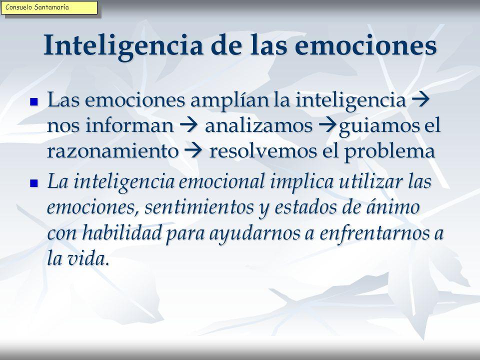 LAS EMOCIONES – Integración cabeza - corazón Nuestras emociones realizan la primera evaluación de los sucesos Nuestras emociones realizan la primera evaluación de los sucesos Al tener la emoción hemos de pensar sobre ella y decidir qué hacer Al tener la emoción hemos de pensar sobre ella y decidir qué hacer Integrar los impulsos del cerebro emocional con el asesoramiento de la razón da una mayor flexibilidad adaptativa Integrar los impulsos del cerebro emocional con el asesoramiento de la razón da una mayor flexibilidad adaptativa Consuelo Santamaría
