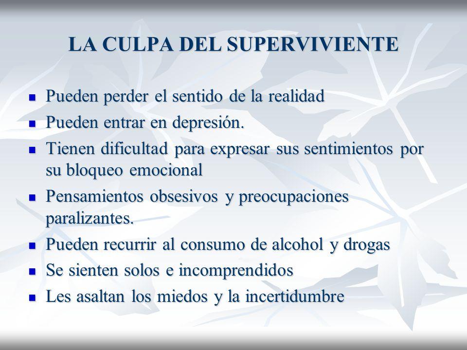 LA CULPA DEL SUPERVIVIENTE La respuesta es: La respuesta es: Sentirse abrumado, deprimido y con intensos sentimientos de culpa.