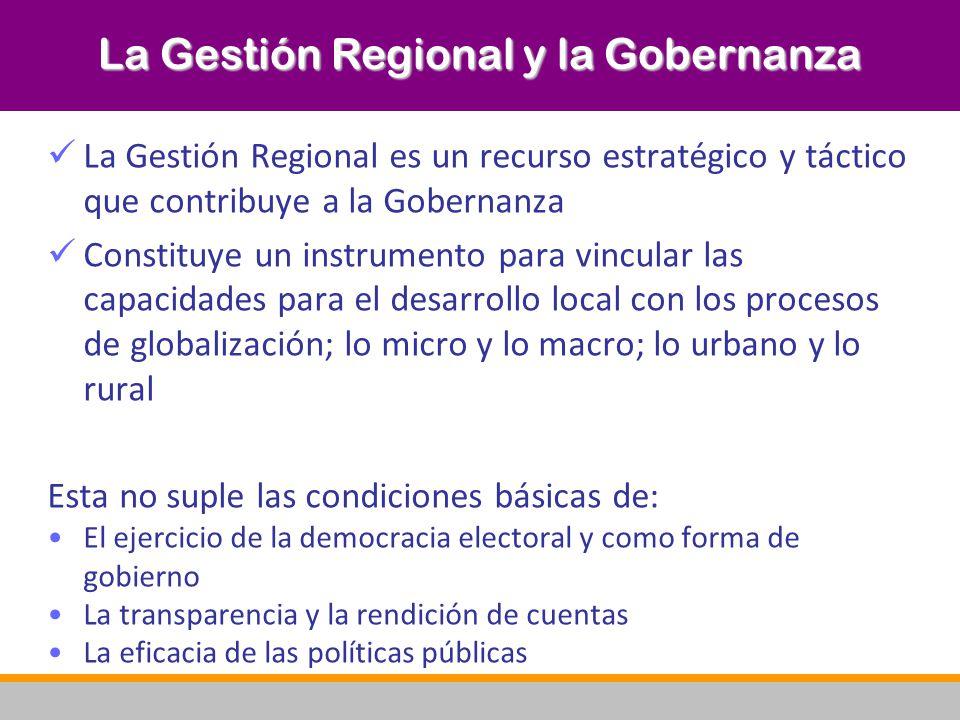 La Gestión Regional y la Gobernanza La Gestión Regional es un recurso estratégico y táctico que contribuye a la Gobernanza Constituye un instrumento p