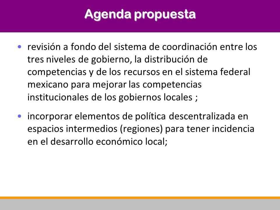 revisión a fondo del sistema de coordinación entre los tres niveles de gobierno, la distribución de competencias y de los recursos en el sistema feder