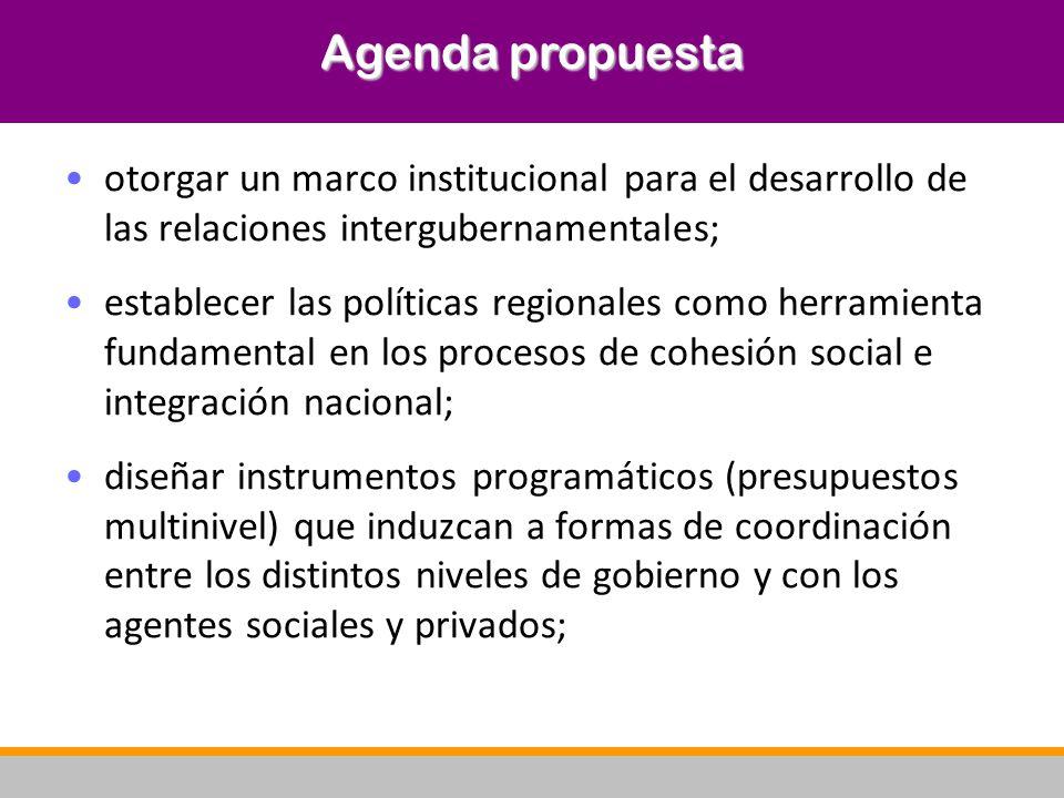 otorgar un marco institucional para el desarrollo de las relaciones intergubernamentales; establecer las políticas regionales como herramienta fundame