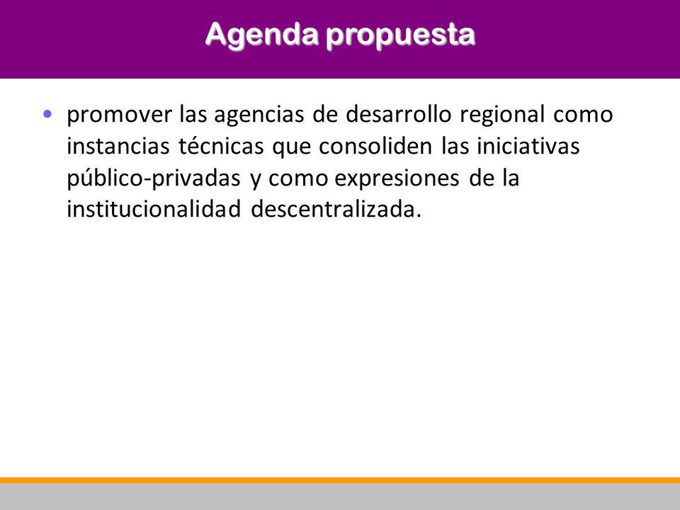 promover las agencias de desarrollo regional como instancias técnicas que consoliden las iniciativas público-privadas y como expresiones de la institu