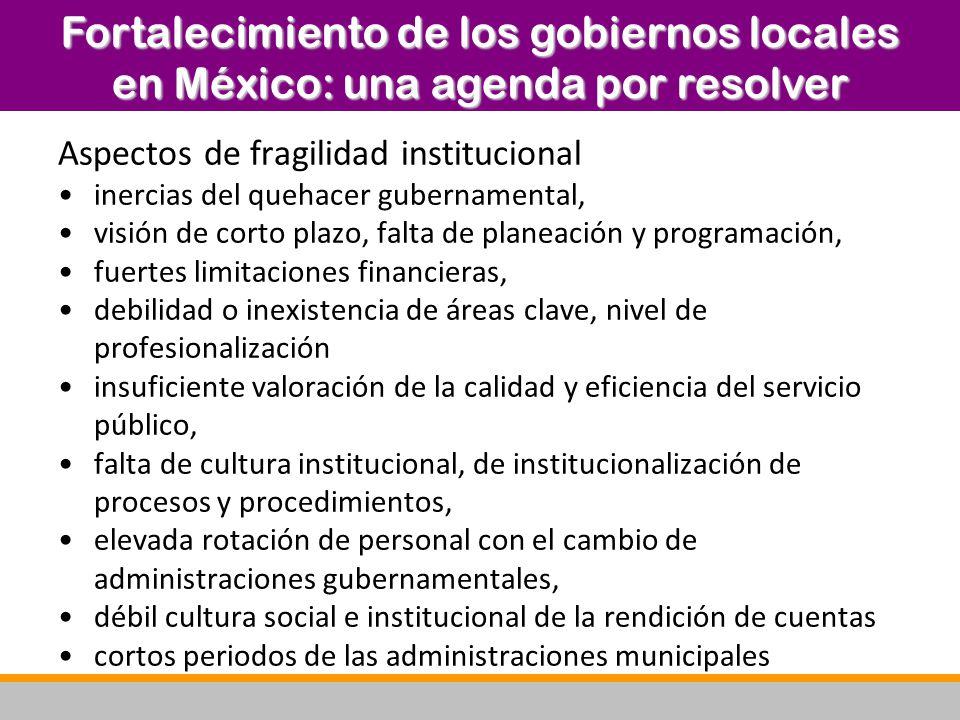 A 25 años de la transición democrática, los gobiernos locales se enfrentan a un contexto socioeconómico Medio rural: dispersión demográfica y emigración Centros urbanos: crecimiento desordenado, decisiones de corto plazo que inciden en las perspectivas de desarrollo y bienestar Pesada carga de administraciones públicas, pero insuficiente para los retos por atender: quizás pensar en innovaciones en el diseño institucional La dimensión regional como una plataforma intermedia de coordinación intergubernamental Fortalecimiento de los gobiernos locales en México: una agenda por resolver