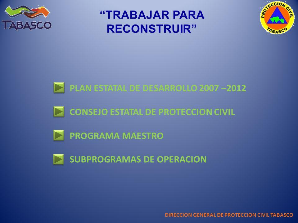 TRABAJAR PARA RECONSTRUIR DIRECCION GENERAL DE PROTECCION CIVIL TABASCO PLAN ESTATAL DE DESARROLLO 2007 –2012 CONSEJO ESTATAL DE PROTECCION CIVIL PROG