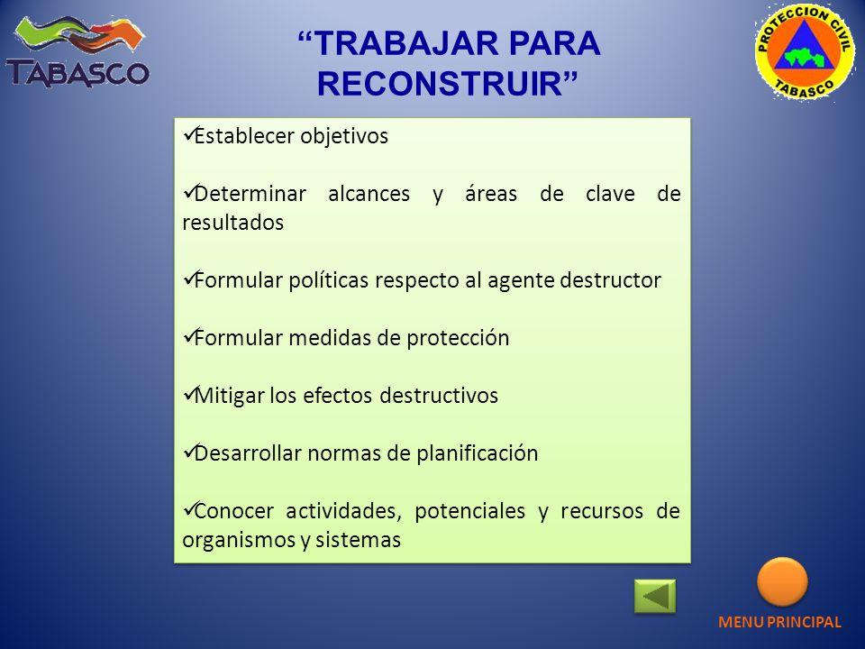 TRABAJAR PARA RECONSTRUIR Establecer objetivos Determinar alcances y áreas de clave de resultados Formular políticas respecto al agente destructor For