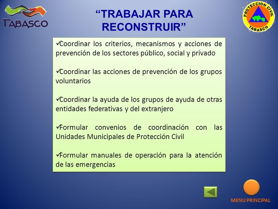 TRABAJAR PARA RECONSTRUIR Coordinar los criterios, mecanismos y acciones de prevención de los sectores público, social y privado Coordinar las accione