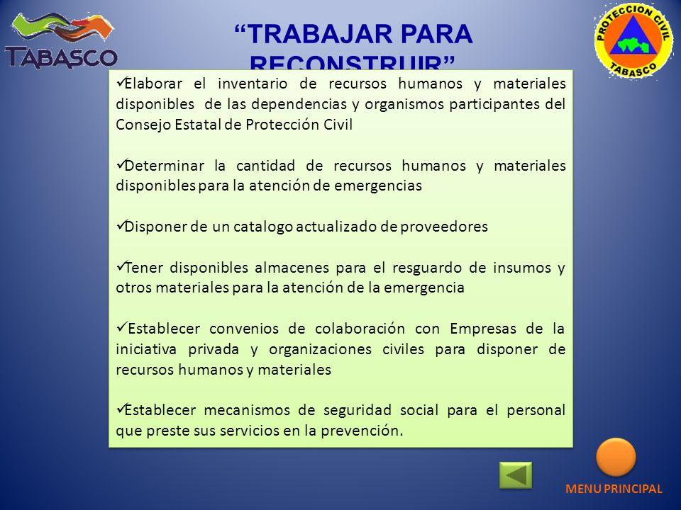 TRABAJAR PARA RECONSTRUIR Elaborar el inventario de recursos humanos y materiales disponibles de las dependencias y organismos participantes del Conse