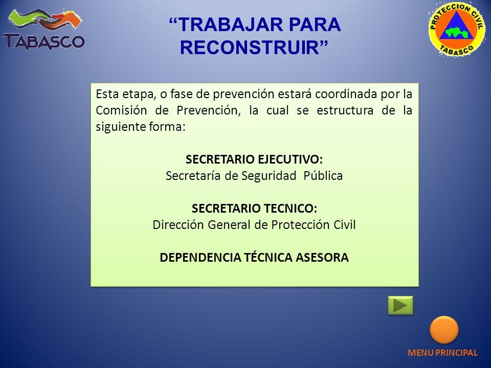 Esta etapa, o fase de prevención estará coordinada por la Comisión de Prevención, la cual se estructura de la siguiente forma: SECRETARIO EJECUTIVO: S