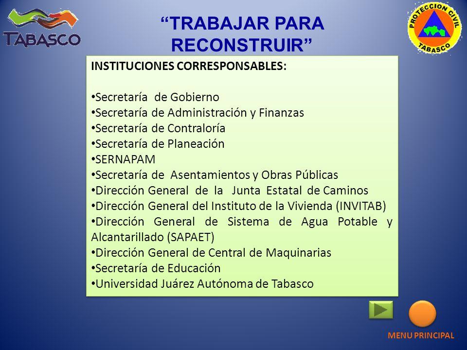 INSTITUCIONES CORRESPONSABLES: Secretaría de Gobierno Secretaría de Administración y Finanzas Secretaría de Contraloría Secretaría de Planeación SERNA