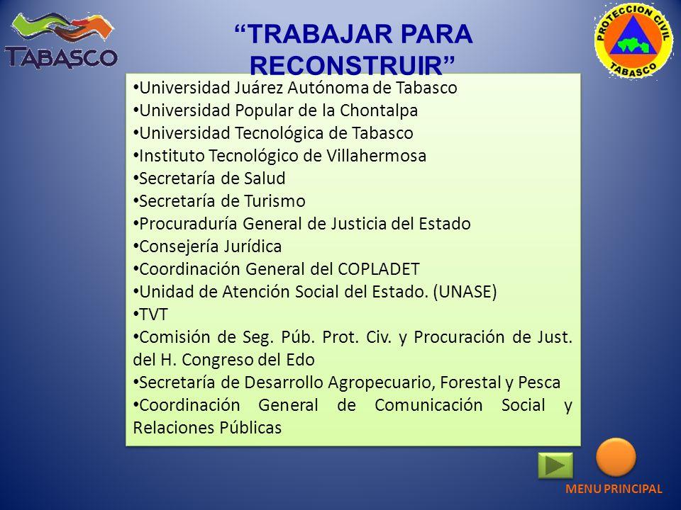 Universidad Juárez Autónoma de Tabasco Universidad Popular de la Chontalpa Universidad Tecnológica de Tabasco Instituto Tecnológico de Villahermosa Se