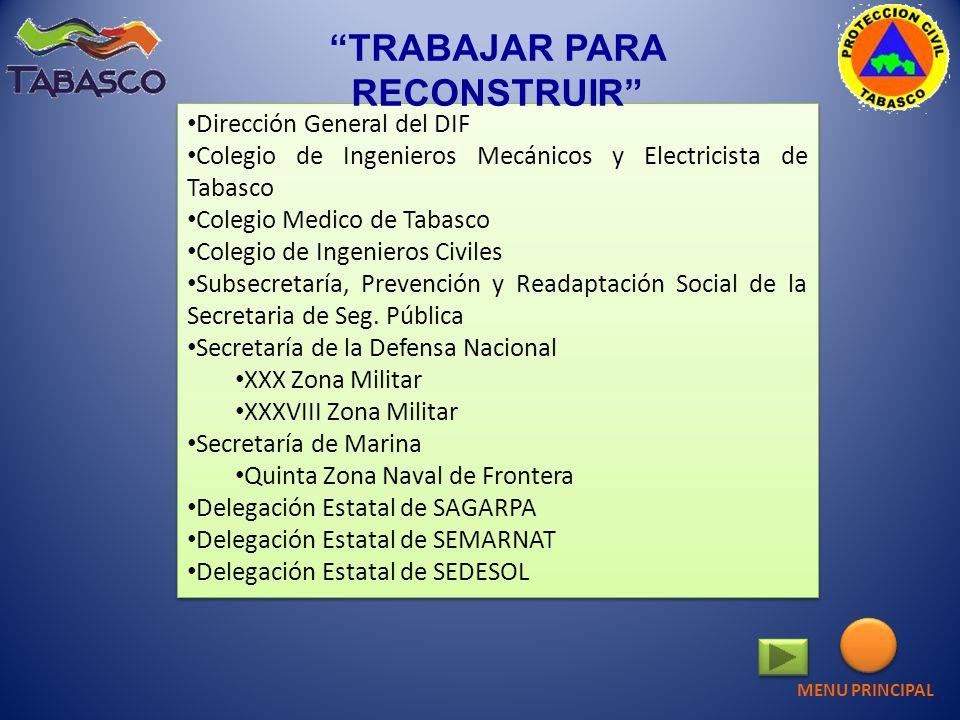 Dirección General del DIF Colegio de Ingenieros Mecánicos y Electricista de Tabasco Colegio Medico de Tabasco Colegio de Ingenieros Civiles Subsecreta