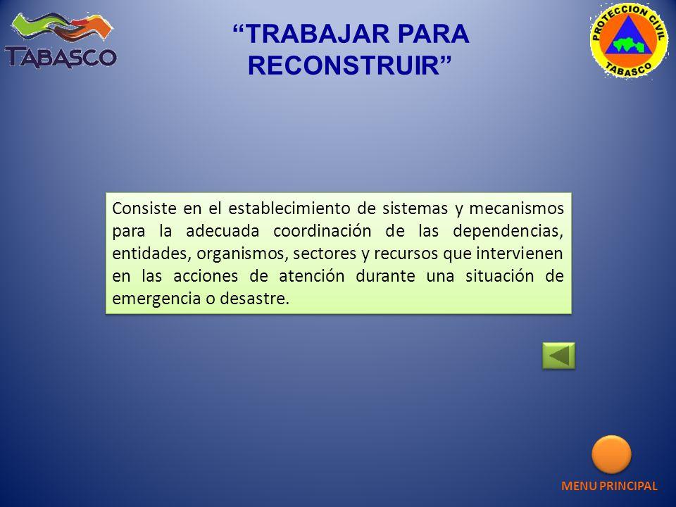 TRABAJAR PARA RECONSTRUIR Consiste en el establecimiento de sistemas y mecanismos para la adecuada coordinación de las dependencias, entidades, organi