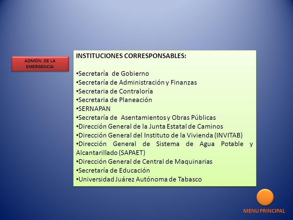 INSTITUCIONES CORRESPONSABLES: Secretaría de Gobierno Secretaría de Administración y Finanzas Secretaria de Contraloría Secretaria de Planeación SERNA