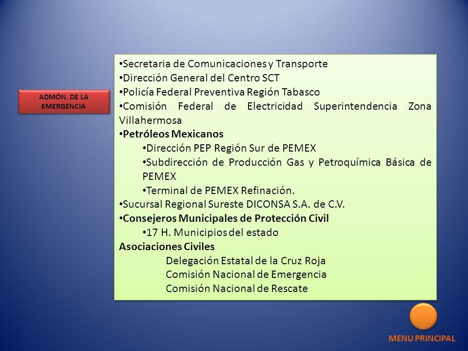 Secretaria de Comunicaciones y Transporte Dirección General del Centro SCT Policía Federal Preventiva Región Tabasco Comisión Federal de Electricidad