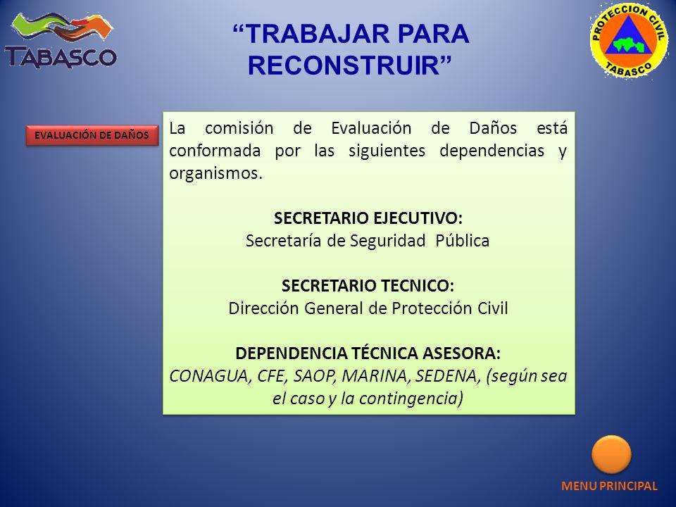 TRABAJAR PARA RECONSTRUIR La comisión de Evaluación de Daños está conformada por las siguientes dependencias y organismos. SECRETARIO EJECUTIVO: Secre