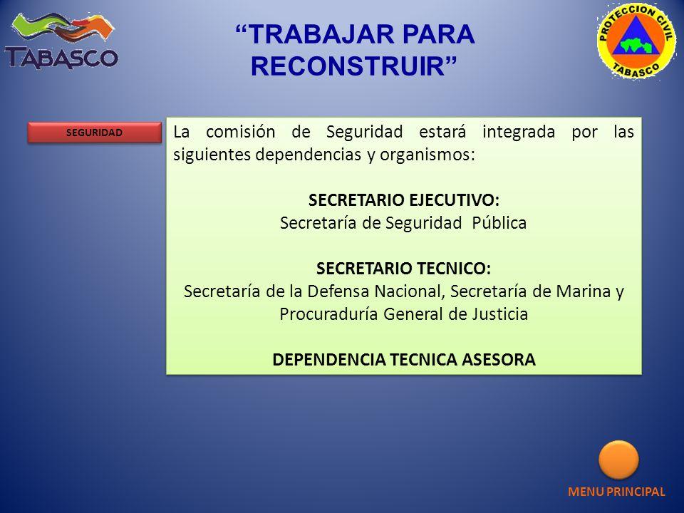 La comisión de Seguridad estará integrada por las siguientes dependencias y organismos: SECRETARIO EJECUTIVO: Secretaría de Seguridad Pública SECRETAR