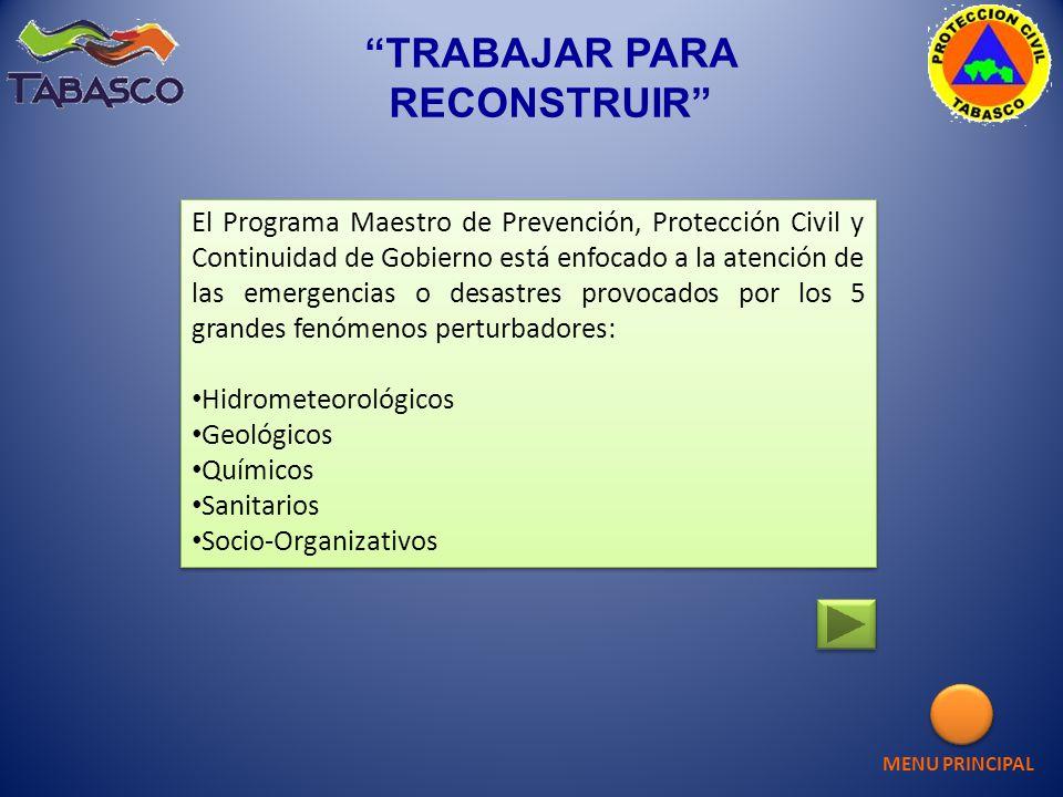 MENU PRINCIPAL CENTRO ESTATAL DE OPERACIONES CENTRO ESTATAL DE OPERACIONES FASE DE RECUPERACIÓN Y CONTINUIDAD DE GOBIERNO FASE DE RECUPERACIÓN Y CONTINUIDAD DE GOBIERNO TRABAJAR PARA RECONSTRUIR